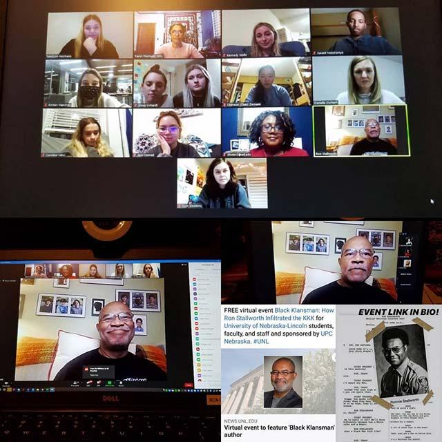 Ron Stallworth presents via Zoom to UNL students