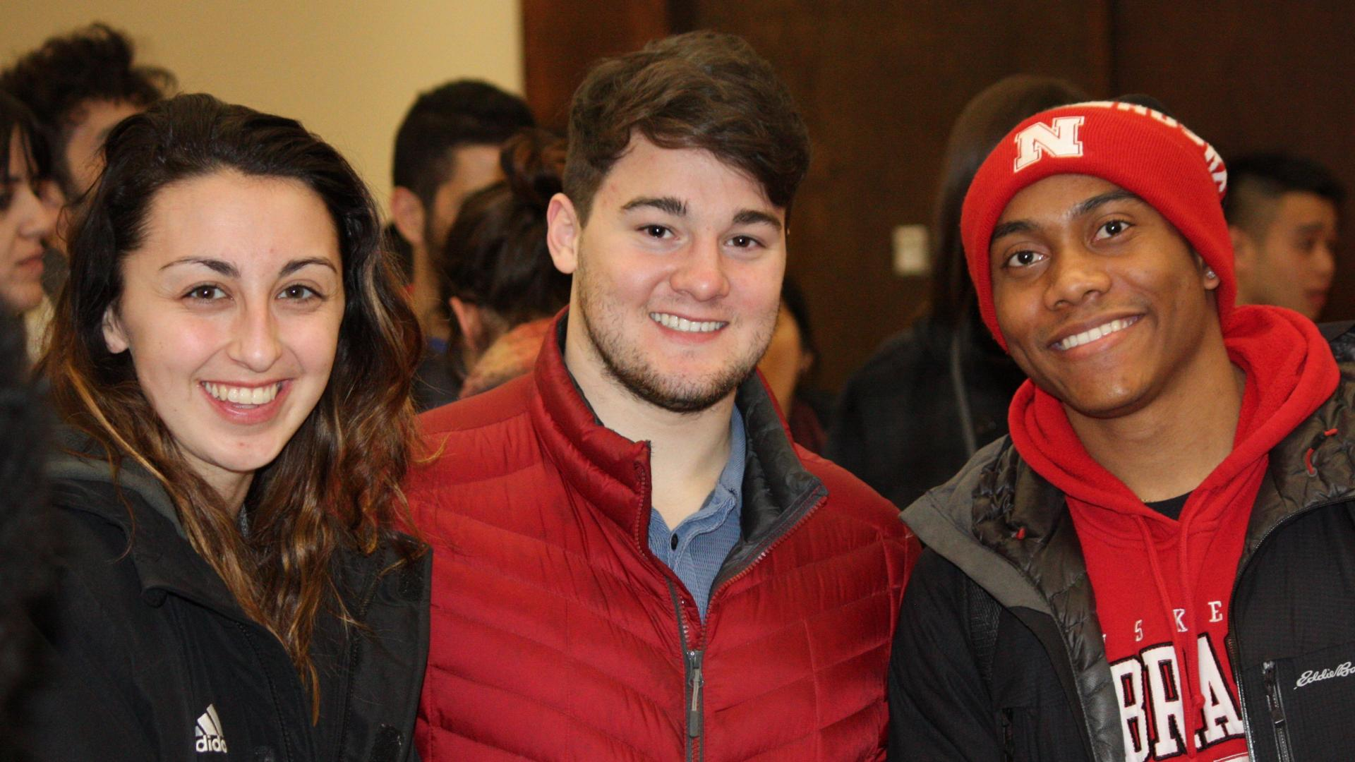 Three students attend the Lunar New Year Celebration at University of Nebraska-Lincoln