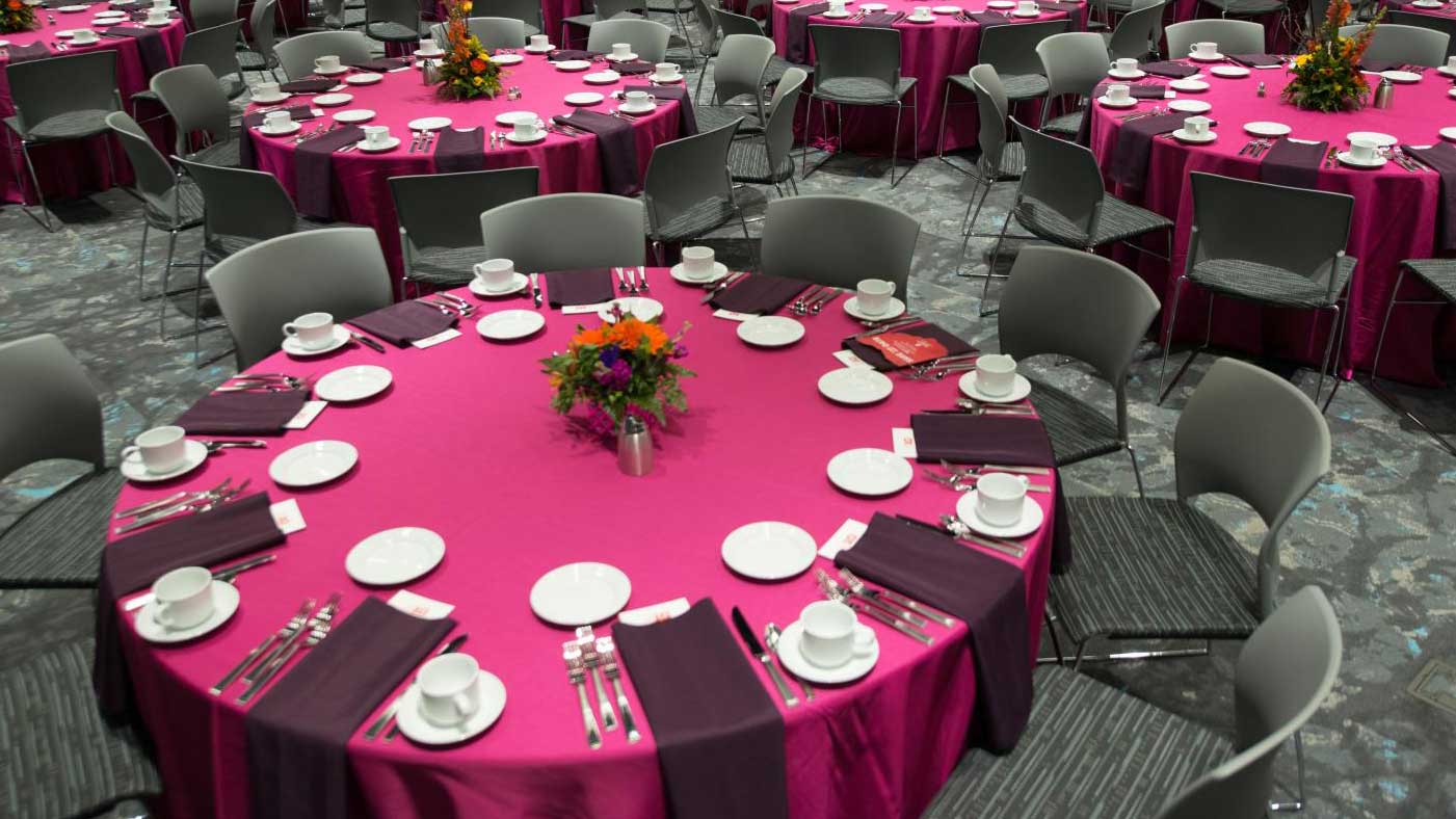 Table set for banquet catered by University Catering at the University of Nebraska-Lincoln
