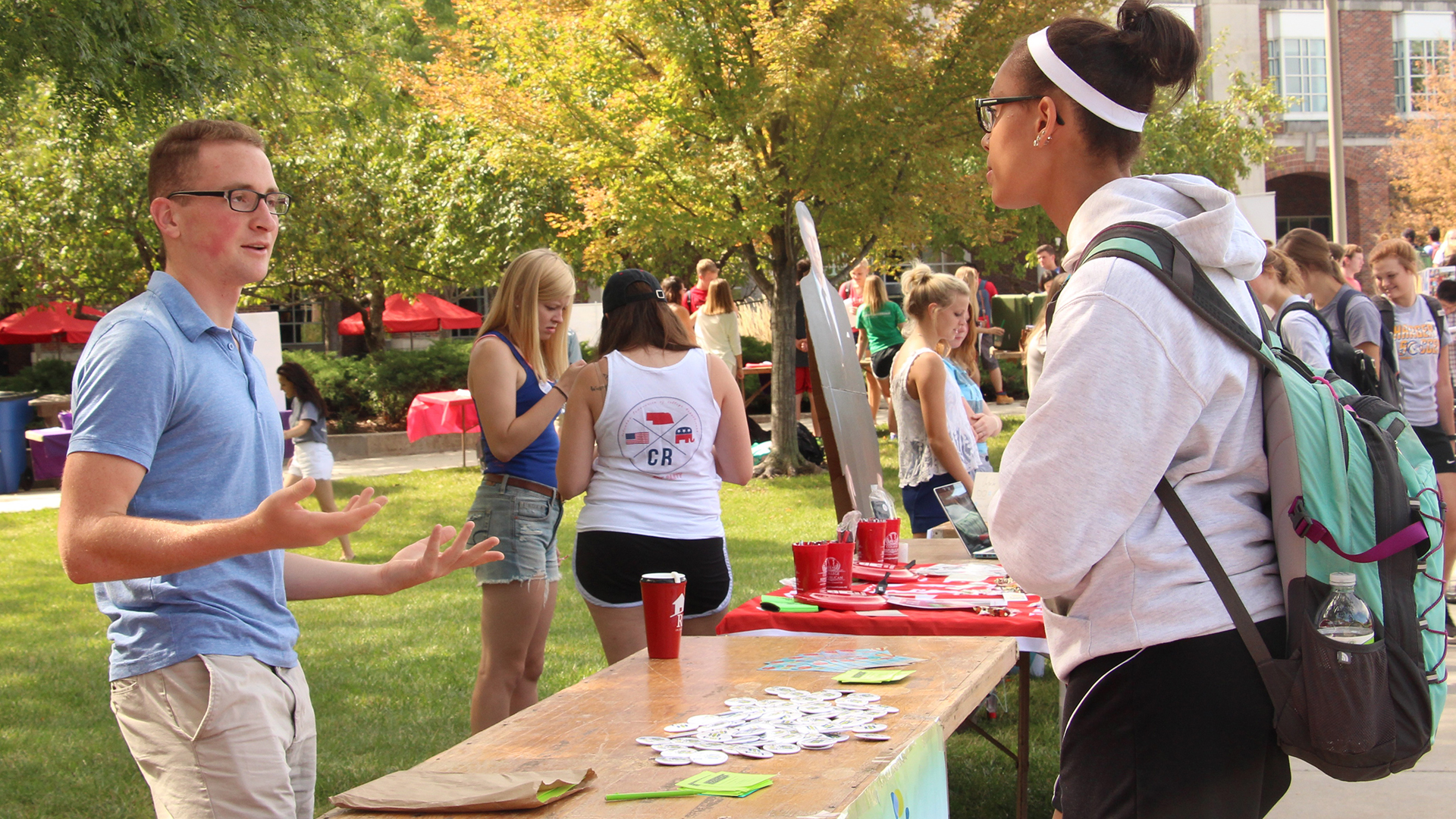Students at the University of Nebraska-Lincoln at the Club Fair
