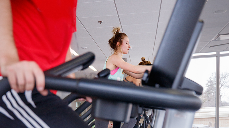 Students work out on stair climbers and treadmills at the University of Nebraska-Lincoln