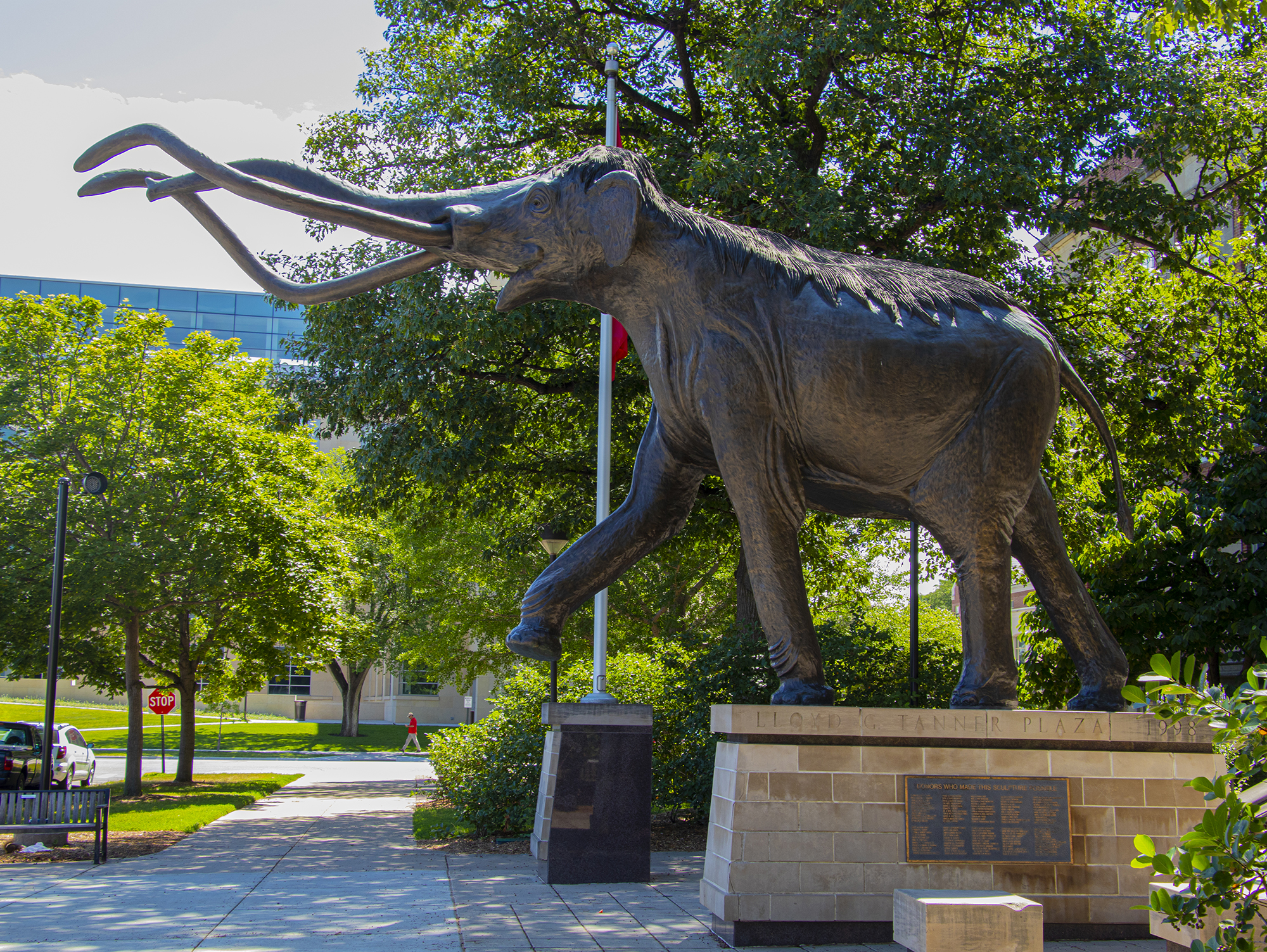 Bronze statue of Archie the Mammoth outside Morrill Hall on the campus of the University of Nebraska-Lincoln.