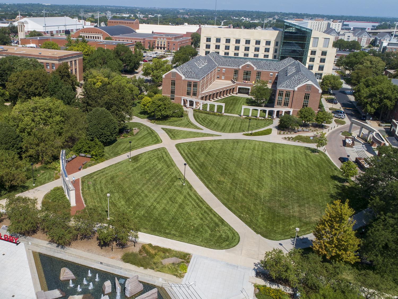 Aerial image of the University of Nebraska-Lincoln campus. [photo by University Communication]