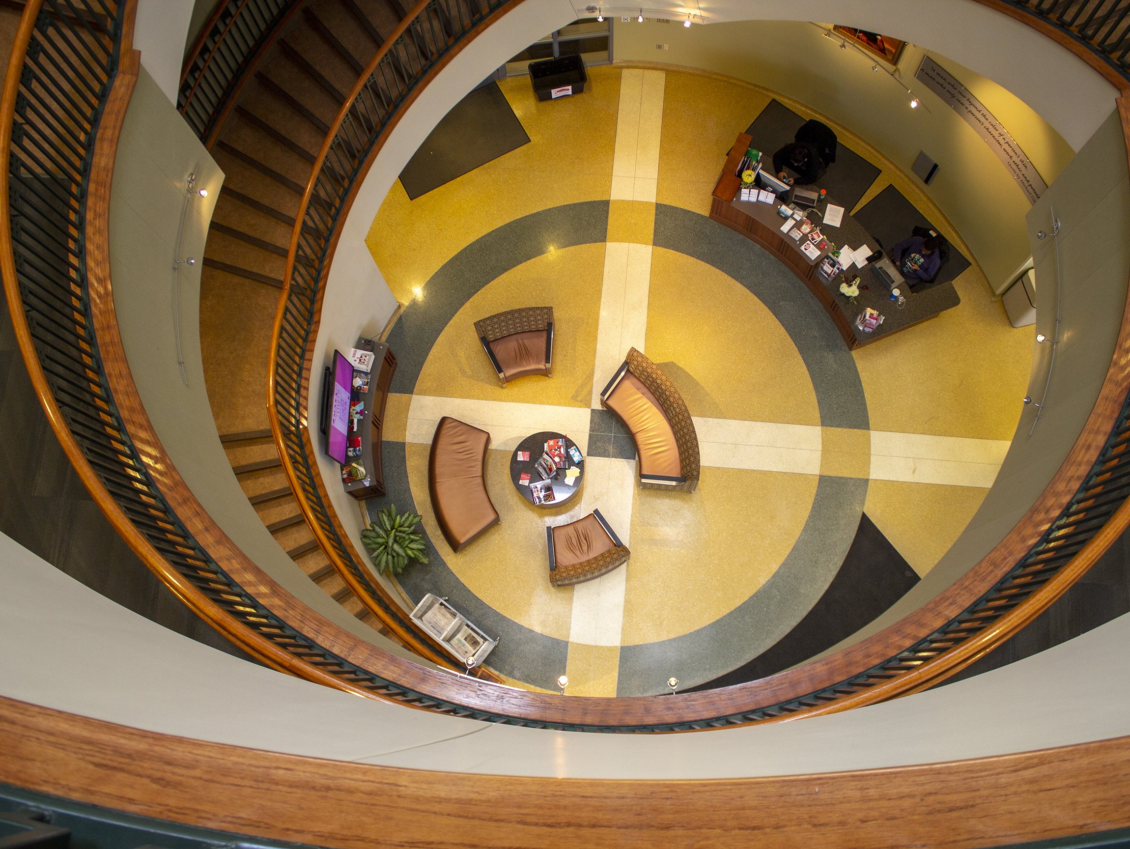 Aerial view of the staircase inside the Jackie Gaughan Multicultural Center at the University of Nebraska-Lincoln [Mike Jackson | Student Affairs]