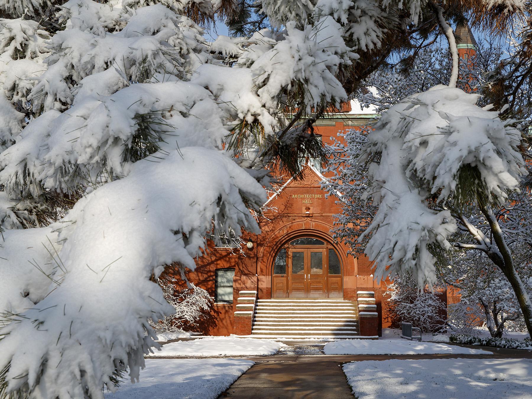 April snow storm leaves campus unseasonably beautiful. April 17, 2020. Photo by Craig Chandler / University Communication