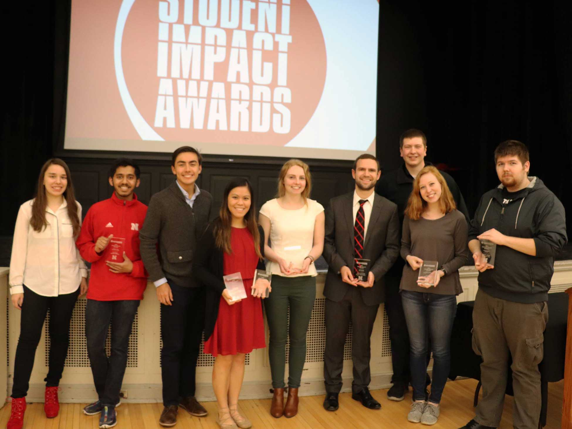 2017-2018 recipients of the Student Impact awards at Nebraska