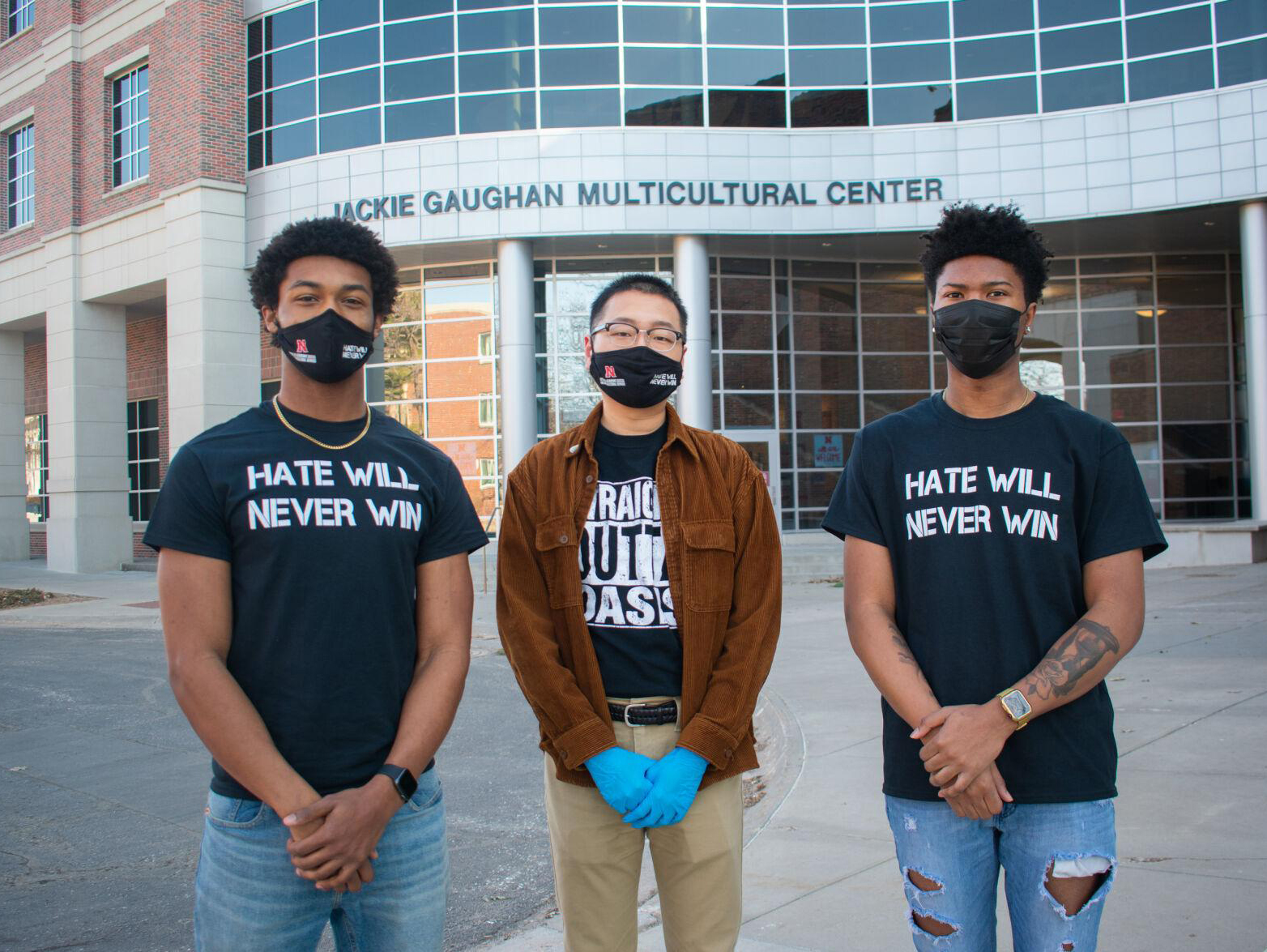 Michael Sanders, Tamayo Zhou and Elijah Merritt (left to right) pose for a portrait outside of the Jackie Gaughan Multicultural Center on March 7, 2020 in Lincoln, Nebraska. (photo by Marissa Kraus | Daily Nebraskan)