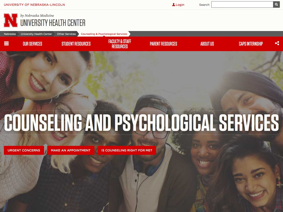 CAPS website (https://health.unl.edu/counseling-and-psychological-services-caps)