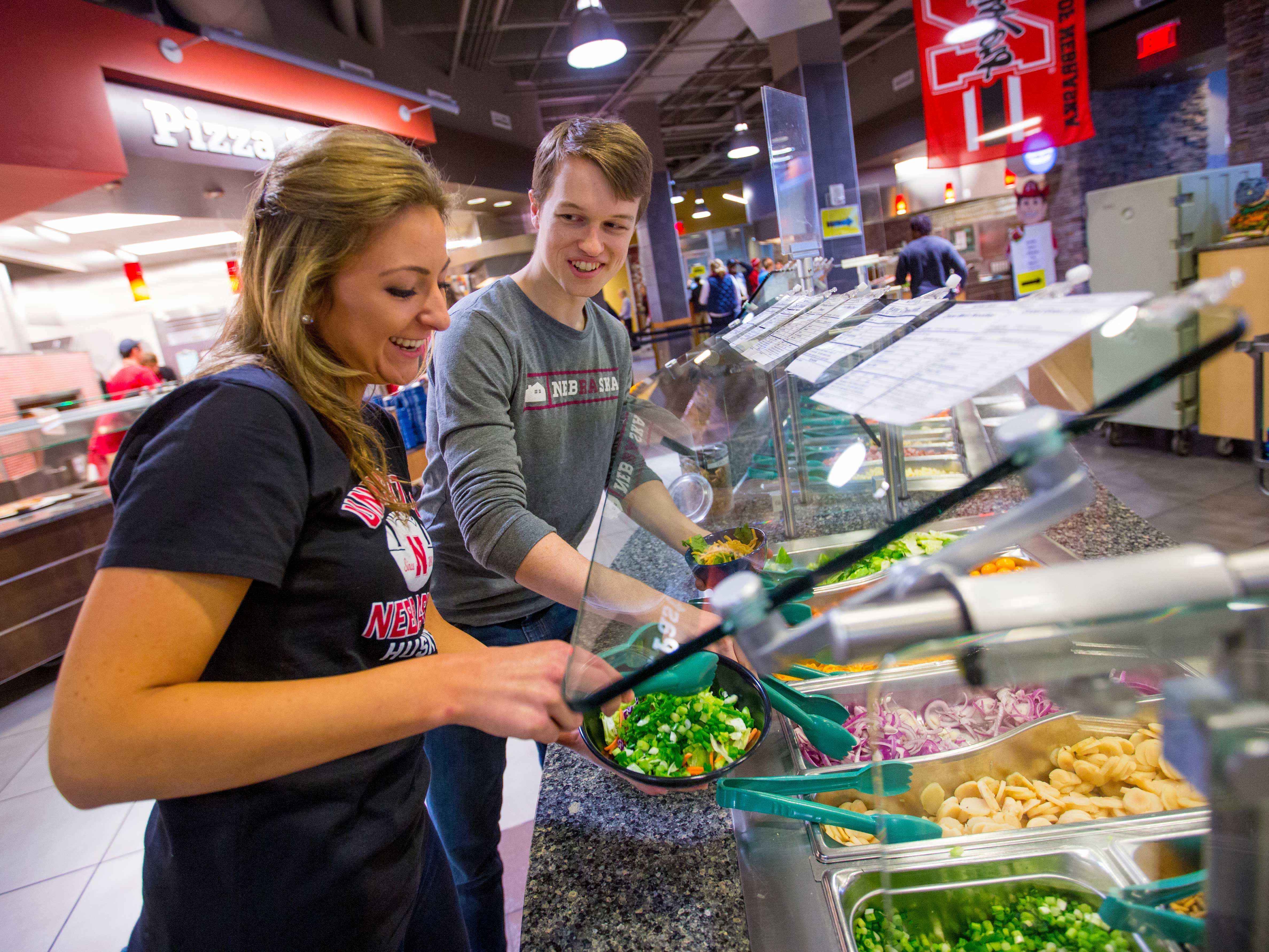 Salad bar in a dining center at the University of Nebraska-Lincoln