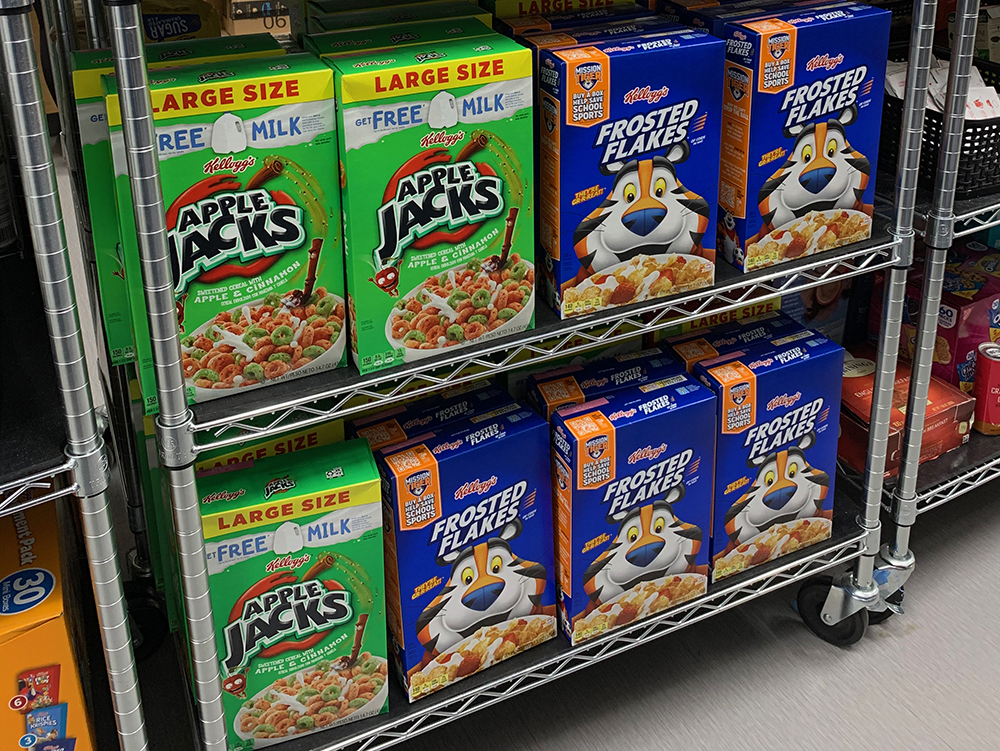 Cereal boxes on shelf