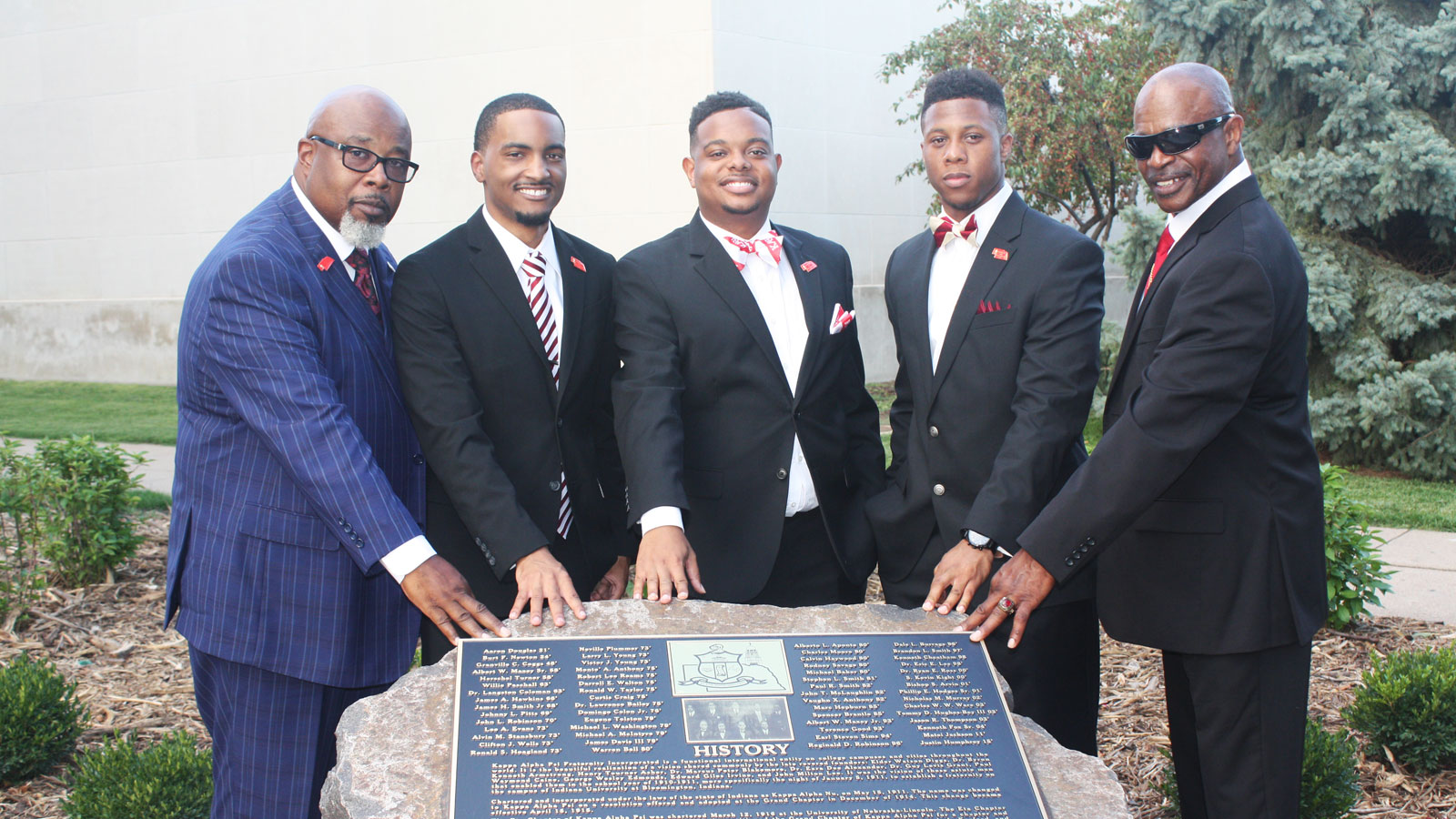 2d40ada2e670 Members of Kappa Alpha Psi fraternity with new rock located south of the  Nebraska Union