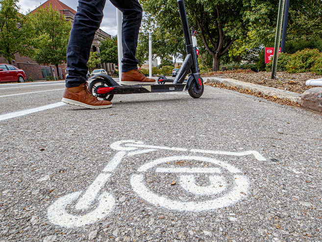 Electric scooters, pictured here in front of the Nebraska Union, made their debut in downtown Lincoln on Sept. 1, 2020. (Photo: Craig Chandler   University Communication)