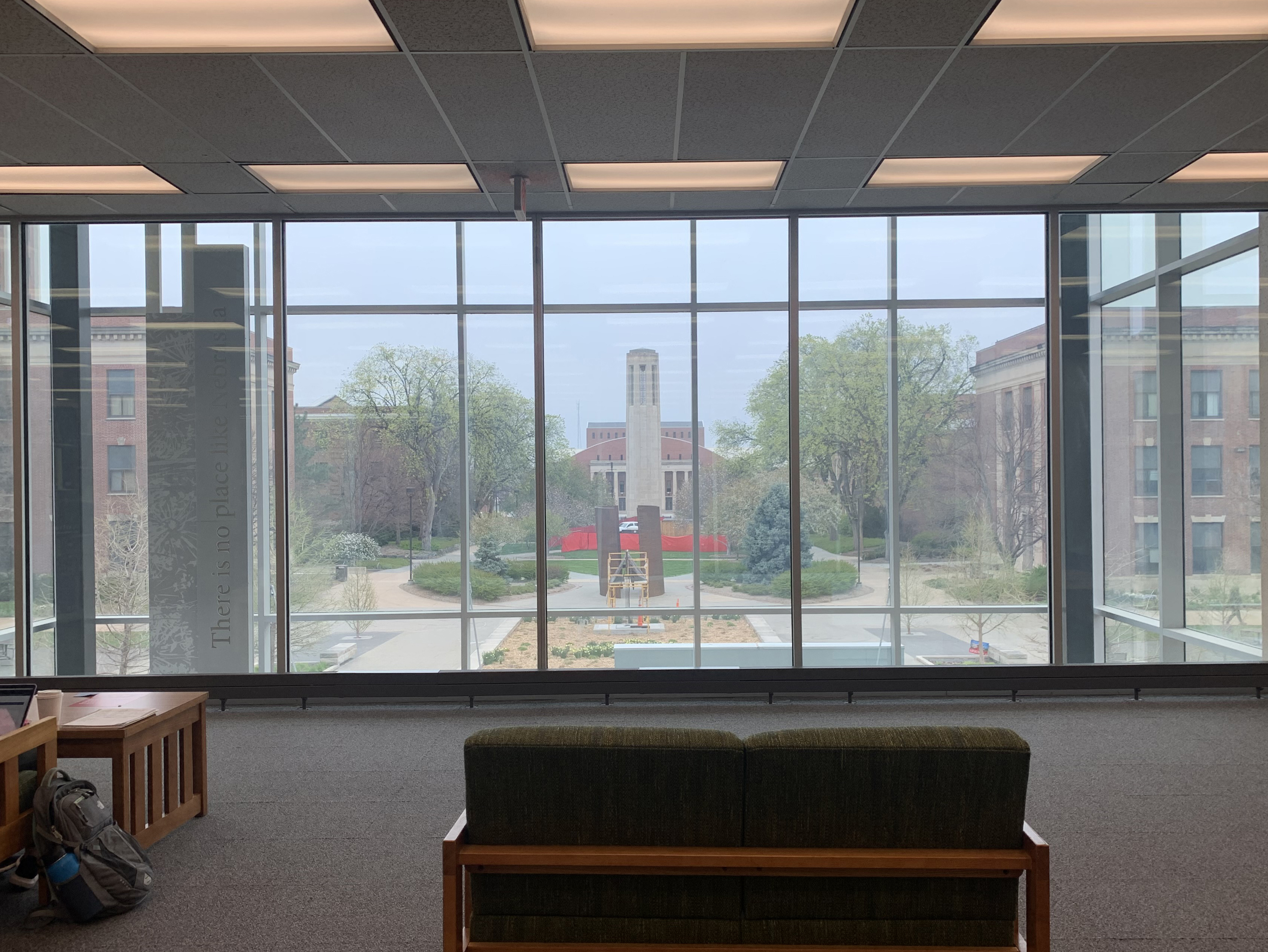 Large picture window in Love Library wiht a view of Mueller Tower. [photo by Kirsten Wandrey | Student Affairs]
