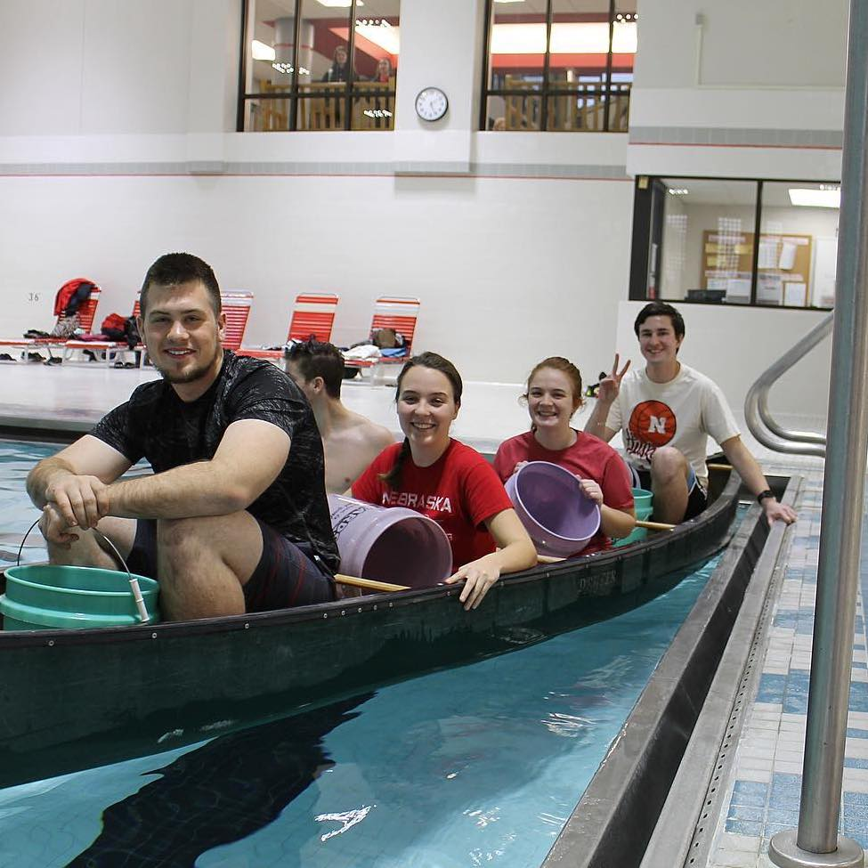 Members of the Concrete Canoe team hit the pool for a game of Battleship!