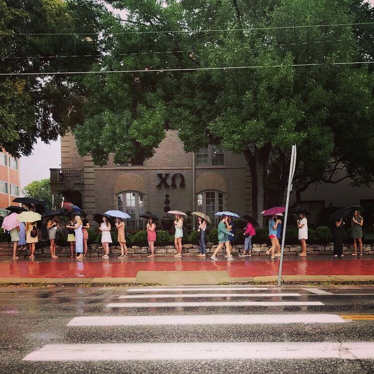Sorority recruitment on rainy day