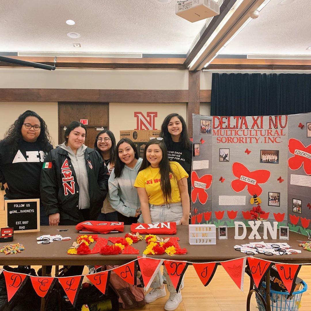 Club Fair table for Delta Xi Nu multicultural sorority