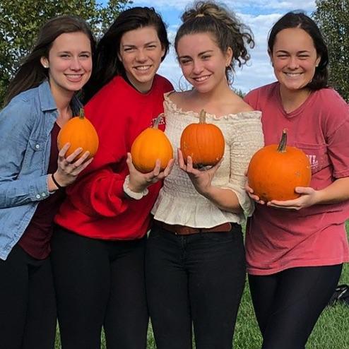 Four girls holding small pumpkins