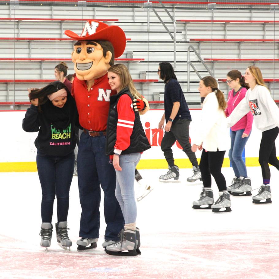 Herbie Husker goes ice skating