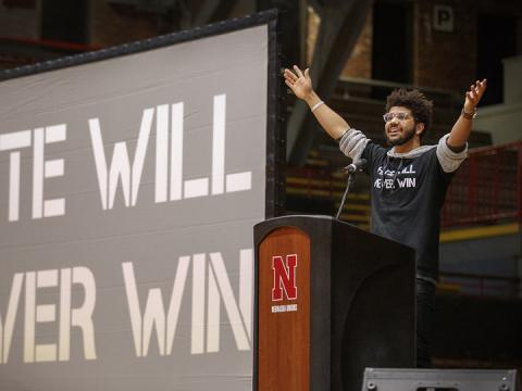 """Alex Chapman talks during the student-led """"Hate Will Never Win"""" rally at the Coliseum on Feb. 14, 2018."""
