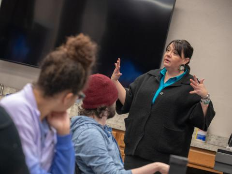 Colette Yellow Robe guides a discussion during an interpersonal skills and leadership class offered through the Department of Agricultural Leadership, Education and Communication.