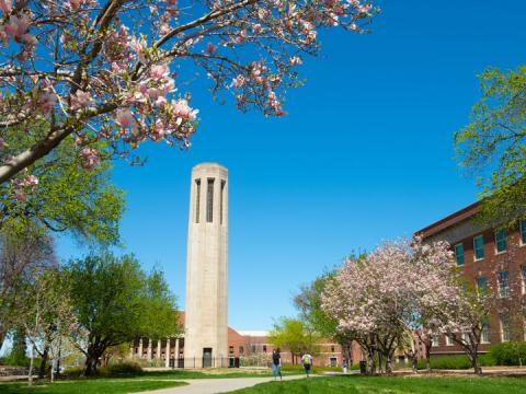Mueller Bell Tower appears amongst the spring blooms on the University of Nebraska-Lincoln campus.