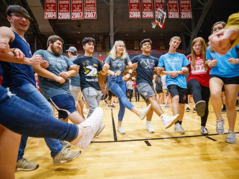 Playfair activity in Coliseum Wednesday night as part of Big Red Welcome. August 21, 2019. Photo by Craig Chandler / University Communication