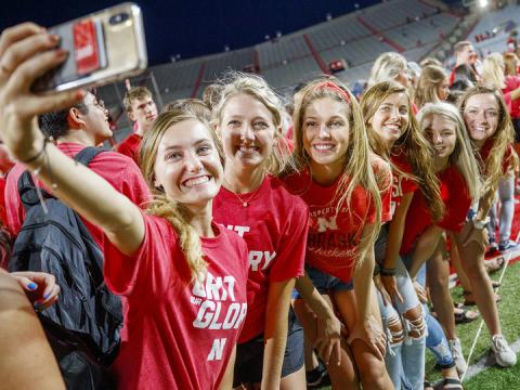 Husker freshmen pose for a selfie during the Tunnel Walk in Memorial Stadium on Aug. 24. Big Red Welcome events on campus have expanded to cover the first six weeks of the fall semester.