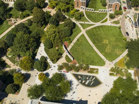 Aerial view above Broyhill Fountain and green space on the northside of Nebraska Union.