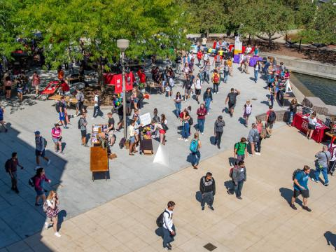 Registered student organizations recruit new members during Club Fair on the Nebraska Union Plaza.