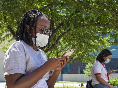 Disposable face masks are available at a few spots on campus [Mike Jackson | Student Affairs]