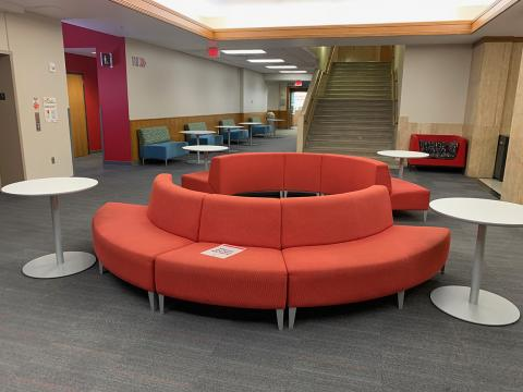 Love Library South, ground-level study space and lounge