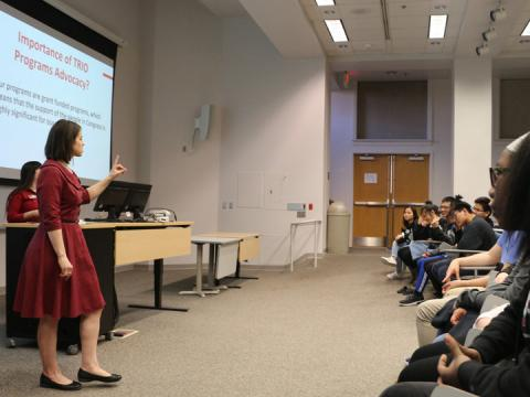 Beth Jacobson, TRIO project director for Educational Talent Search, inspires students to become advocates in their communities at the National TRIO Day at the University of Nebraska-Lincoln Feb. 29.