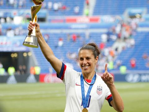 Carli Lloyd celebrates the U.S. women's national soccer team winning the 2019 FIFA Women's World Cup. She will discuss her success on and off the field Feb. 20 at the University of Nebraska–Lincoln.