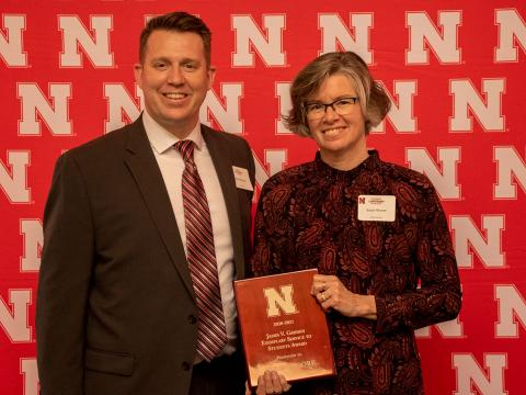 Jake Johnson, nominator, and Sue Moore, recipient of the 2021 James V. Griesen Exemplary Service to Students Award