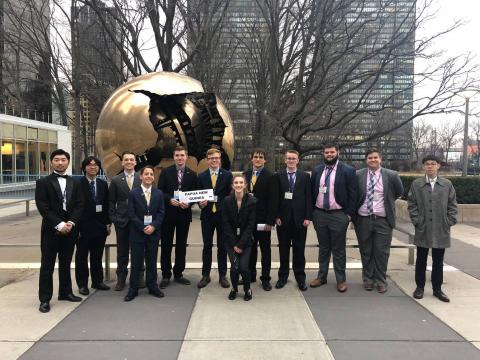 UNL Model United Nations members outside the United Nation's headquarters in New York City.