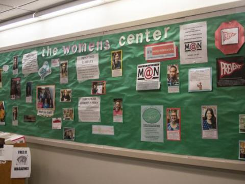 Bulletin board outside the Women's Center