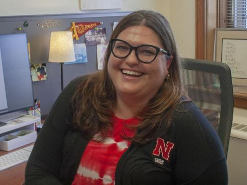 UNL's new Greek Affairs Director Leigh Thiedeman smiles in her office on Thursday, Sept. 5, 2019, in Lincoln, Nebraska.