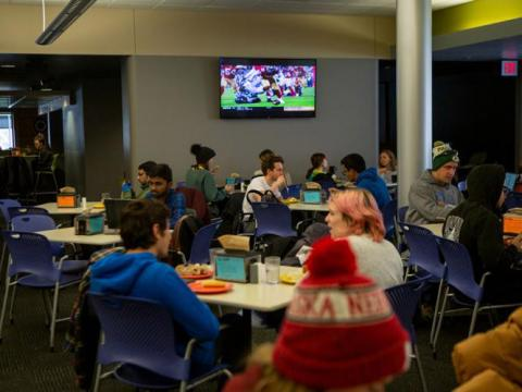 Students sit in the cafeteria for a meal inside the Selleck Dining Center on Tuesday, Nov. 12, 2019, in Lincoln, Nebraska.