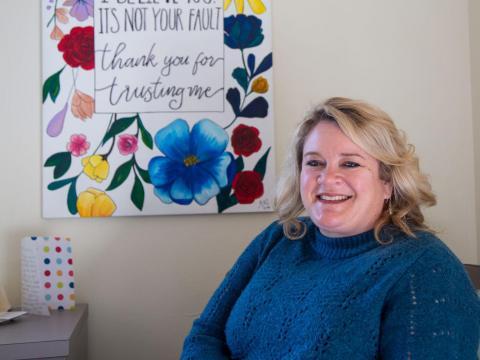 Melissa Wilkerson, UNL victim advocate, poses for a portrait in her office in the Nebraska Union on Thursday, Nov. 7, 2019, in Lincoln, Nebraska. | Daily Nebraskan