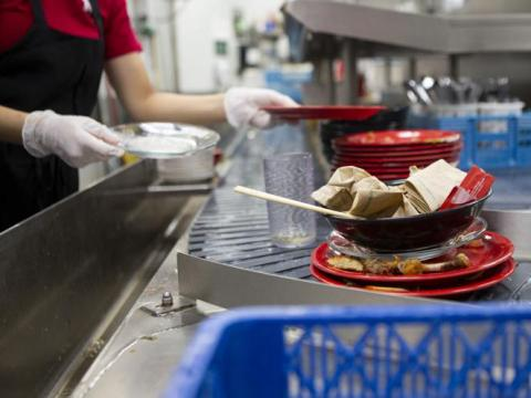 Plate washing in dining hall