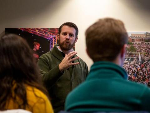 Assistant Vice Chancellor for student affairs Jake Johnson speaks at the Code of Conduct Feedback session at Suite Regency B in the Nebraska Union on Tuesday, Jan. 28, 2020, in Lincoln, Nebraska.