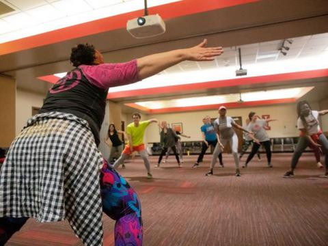 Associate professor Kwakituli Dreher teaches a Zumba class for Love Your Heart Week at the Nebraska East Union on Wednesday, Feb. 12, 2020, in Lincoln, Nebraska. | Daily Nebraskan