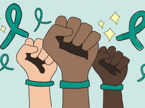Teal ribbons and bracelets to show support for Sexual Assault Awareness Month