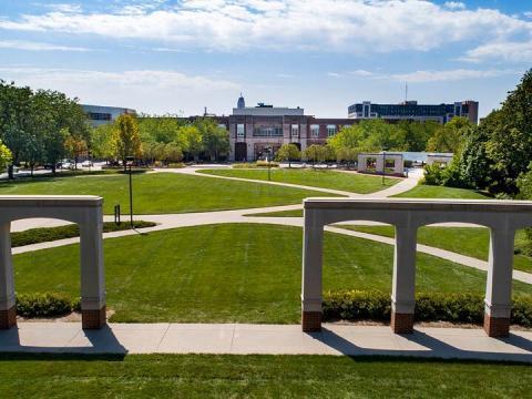 Aerial view of the University of Nebraska-Lincoln across the Meiers Commons.
