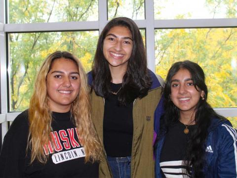 Sara Qudus (left), Michelle Ebrahim and Susan Qudus pose for a picture.