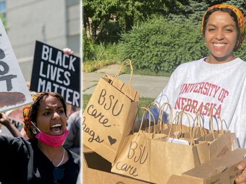 In the days after the death of George Floyd in Minneapolis, Nebraska student Batool Ibrahim participated in protest marches in Lincoln (left) and helped organize an outreach project that is providing wellness items to community members in need. The Black Student Union Care Bags initiative launched with initial donations of $14,000.