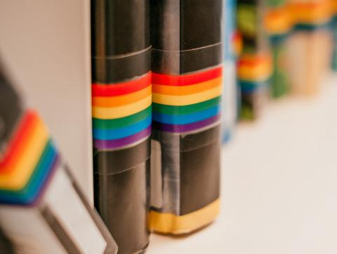 A row of books with LGBTQA rainbow tag on the spine. [Shutterstock]