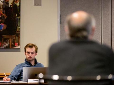 The committee chair Jacob Gideon runs the Committee for Fee Allocations meeting at the Nebraska Union on Thursday, Feb. 6, 2020, in Lincoln, Nebraska.