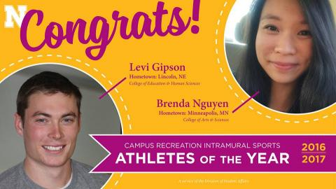 Campus Recreation Athlete of the Year recipients Brenda Nguyen and Levi Gipson
