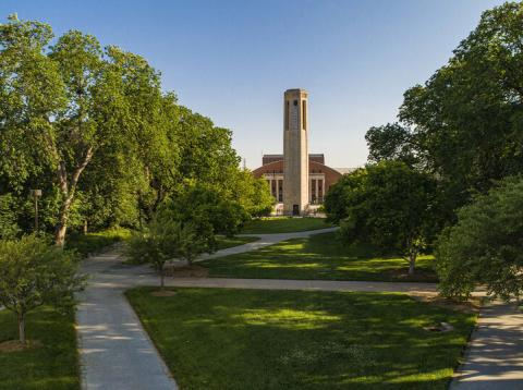 UNL campus with Mueller Tower and Coliseum in the background.